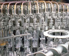 A group of bottle being filled in a factory.