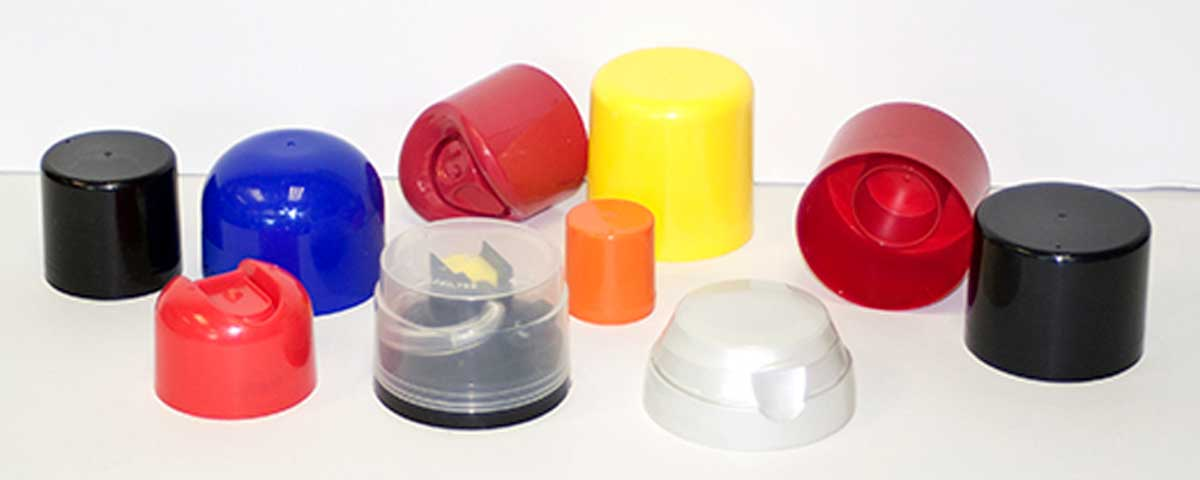 A collection of various colorful plastic caps.