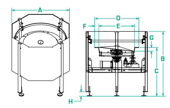 FS-30-RD scallop feeder dimensions