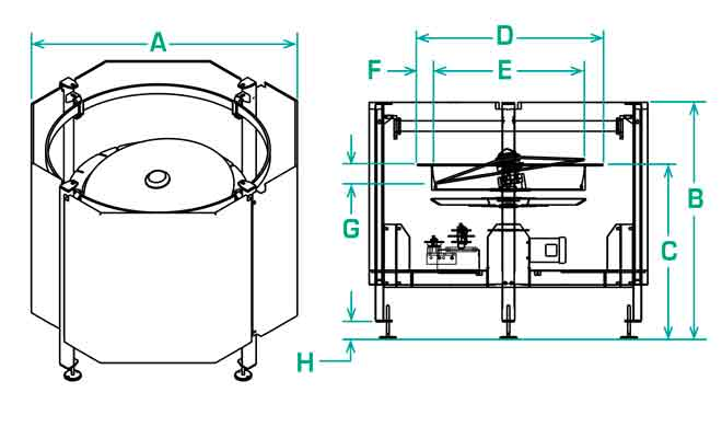 FS-40-RD scallop feeder dimensions