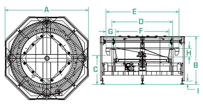 FS-70 scallop feeder dimensions
