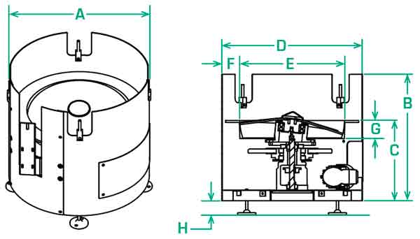 FT-20-RD Centrifugal Feeder Dimensions