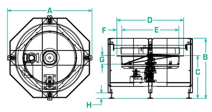 FT-50-RD Centrifugal Feeder Dimensions
