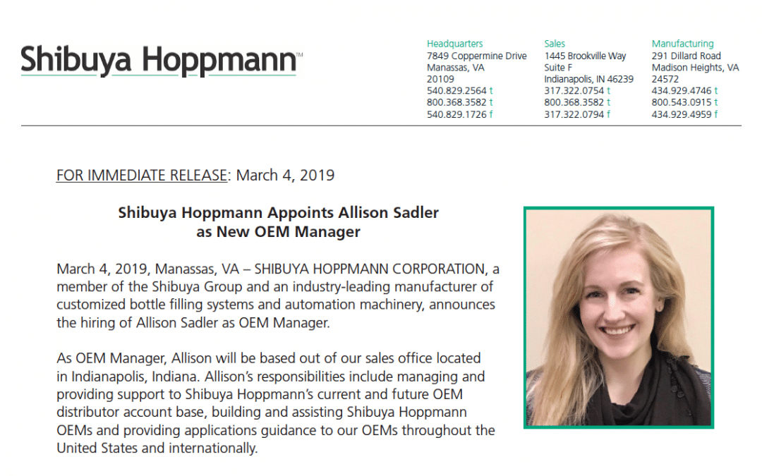 Shibuya Hoppmann Appoints Allison Sadler as New OEM Manager