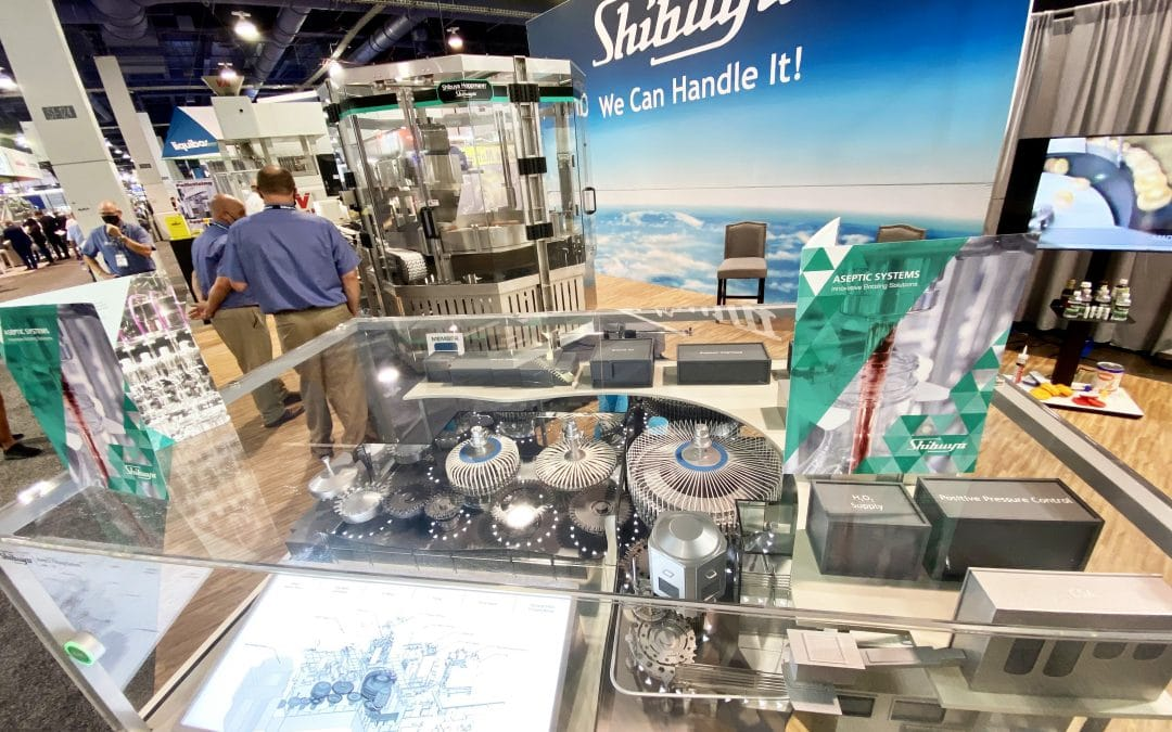 Shibuya Hoppmann aseptic model display with brochures at Pack Expo Las Vegas 2021
